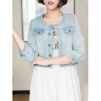 Pocket Design Cropped Thin Jean Jacket