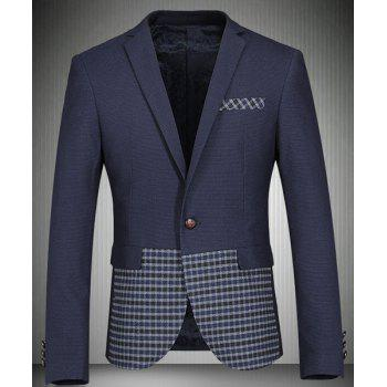 Trendy Turn-Down Collar Plaid Print Splicing Long Sleeve Men's Blazer