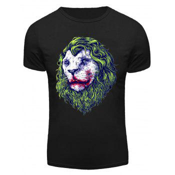 Round Neck 3D Joker Lion Print Short Sleeve Men's T-Shirt