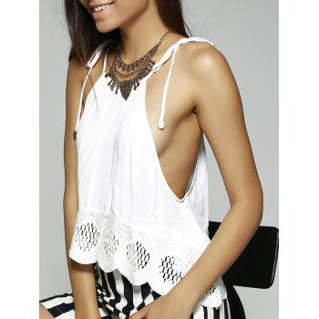 Ethnic Style Women's Slimming Spaghetti Strap Lace-up Top - WHITE M