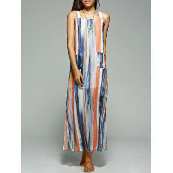 Bohemian Women's Shoulder Strap Geometric Slit Maxi Dress