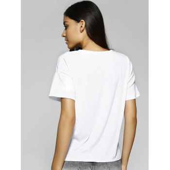 Simple Design Women's Loose-Fitting Scoop Neck Face Print T-Shirt - WHITE L