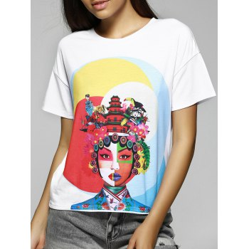 Simple Design Women's Loose-Fitting Scoop Neck Face Print T-Shirt