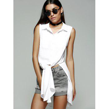 Fashionable Women's Slimming Shirt Collar Slit Blouse - WHITE WHITE