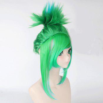 League of Legends LOLArcade Riven Fluffy Blue Mixed Green Straight Cosplay Wig - GREEN