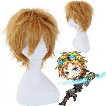 League of Legends LOL	Ezreal Fluffy Straight Short Synthetic Flaxen Cosplay Wig