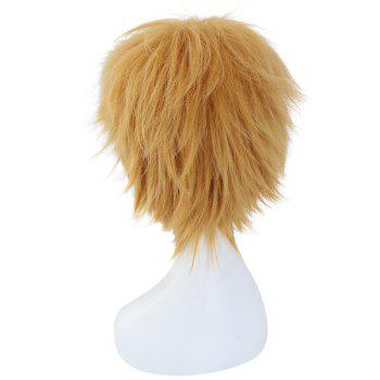 League of Legends LOLEzreal Fluffy Straight Short Synthetic Flaxen Cosplay Wig - FLAXEN