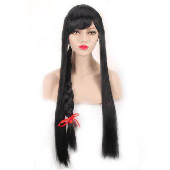 League of Legends LOL	Ahri Black Straight Extra Long With Braided Cosplay Wig - BLACK