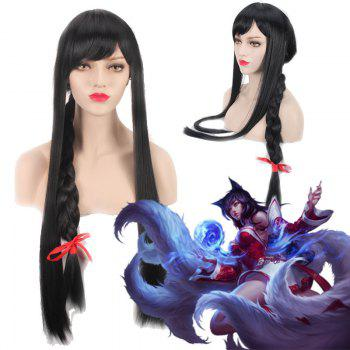 League of Legends LOL	Ahri Black Straight Extra Long With Braided Cosplay Wig