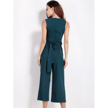 Hollow Out Tied Bowknot Jumpsuit - GREEN S