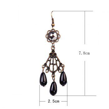 Pair of Vintage Etched Filigree Flower Teardrop Faux Pearl Earrings - BLACK
