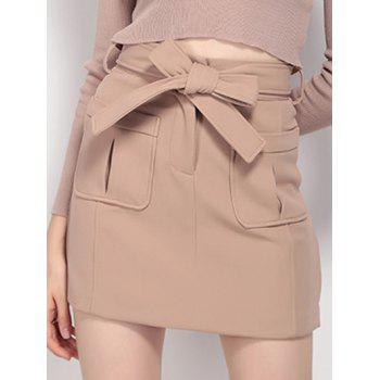 High Waist Pocket Design Tied Skirt