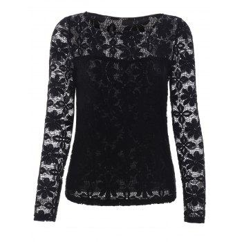 Buy Trendy Long Sleeve Floral Embroidered Translucent Lace Blouse BLACK