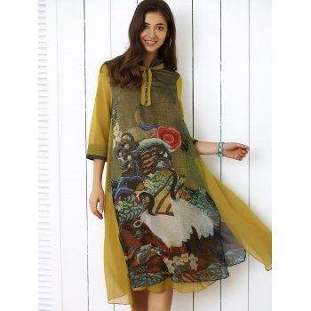 Plus Size Midi Retro Print 3/4 Sleeve Button Smock Dress - COLORMIX XL