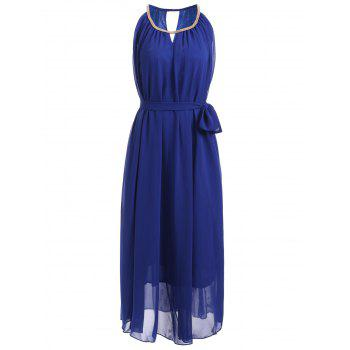 Chain Keyhole Collar Chiffon Maxi Dress