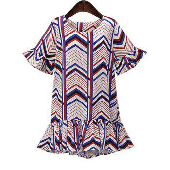 Oversized Colorful Zigzag Frilly  Mini Dress