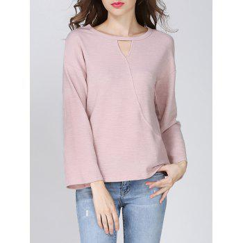 Trendy Round Neck Keyhole Solid Color Women's T-Shirt