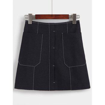 Charming High-Waisted Pocket Design Women's Skirt