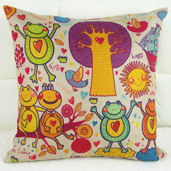 Frog Dancing Bird Cartoon Pattern Sofa Pillow Case