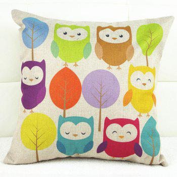 Cartoon Colorful Owl and Tree Pattern Linon Pillow Case