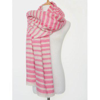 Winter Warm Stripe Fringed Edge Scarf