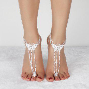 Pair of Rhinestone Embellished Butterfly Anklets -  SILVER