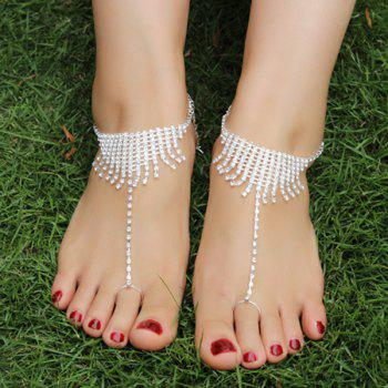 Pair of Rhinestone Tassel Anklets - SILVER SILVER