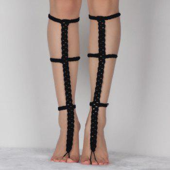 Pair of Graceful Hollow Out Crochet Anklets For Women - BLACK BLACK