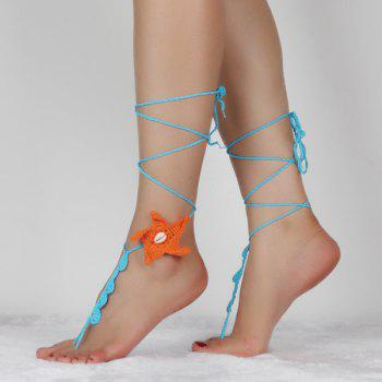 Pair of Chic Starfish Crochet Anklets For Women - LAKE BLUE