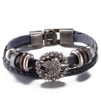 Star Faux Leather Braided Bracelet