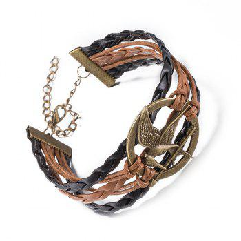 Faux Leather Rope Irenidae Bracelet - BRONZE COLORED
