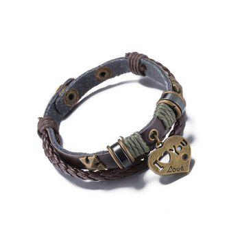 Heart Faux Leather Braided Rope Bracelet - COFFEE