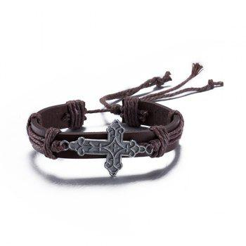Delicate Faux Leather Adjustable Cross Bracelet For Men