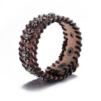 Delicate Faux Leather Pirate Skull Bracelet - BROWN