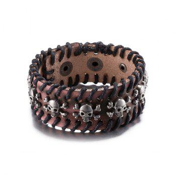 Delicate Faux Leather Pirate Skull Bracelet
