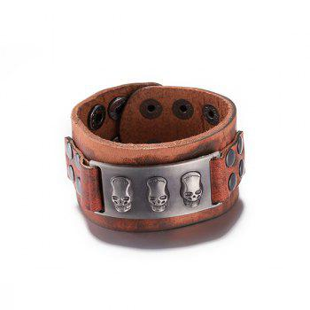 Chic Faux Leather Skull Bracelet