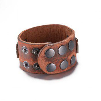 Chic Faux Leather Skull Bracelet - BROWN