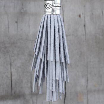 Chic Faux Leather Tassel Keyring - SILVER