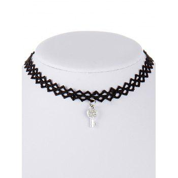 Key Rhinestone Lace Choker Necklace - BLACK