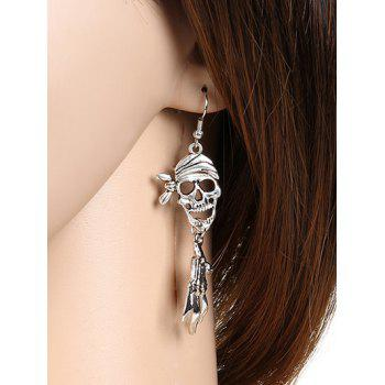 Pair of Halloween Pirate Skull Earrings - SILVER