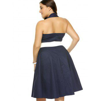 Plus Size Halter Open Back Pin Up Cocktail Dress - PURPLISH BLUE 4XL