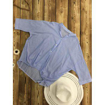 Long Sleeve Loose Fitting High Low Blouse - LIGHT BLUE ONE SIZE