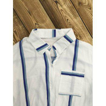 Long Sleeve Striped Front Tie Shirt - WHITE WHITE