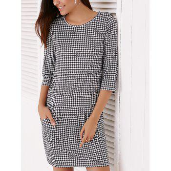 Trendy Houndstooth Printed 3/4 Sleeve Dress For Women