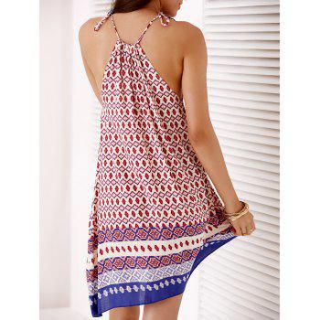 Bohemian Spaghetti Strap Full Print Women's Summer Dress - BLUE/RED ONE SIZE(FIT SIZE XS TO M)