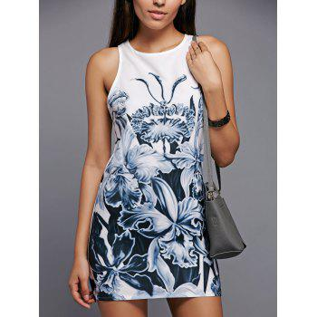 Casual Floral Print Round Neck Sleeveless Dress