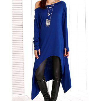 Long Sleeve Skew Neck Solid Color Asymmetric Dress