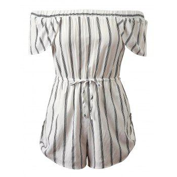 Off-The-Shoulder Cap Sleeves Striped Romper