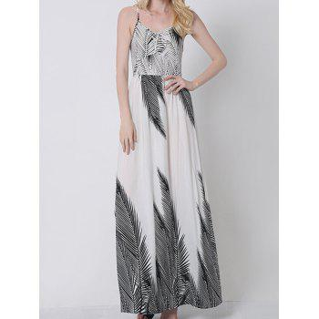 Bohemian Palm Tree Print Maxi Cami Dress