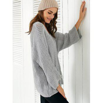 V Neck  Pocket Loose Sweater - GRAY ONE SIZE